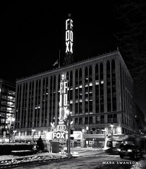 Fox Theater, Detroit (mswan777) Tags: mobile iphoneography iphone apple white black street monochrome night michigan detroit district sign light downtown outdoor urban cityscape city architecture building theater