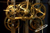 Blick in das Uhrwerk einer alten Uhr / Looking into the clockwork of an old clock (ErnyRy) Tags: ernyry erny erhard ernst mönchengladbach germany clock old clockwork time antique gold brass metal objects vintage watchmaker horologist clockmaker repairer mechanics mechanism technology timekeeping horology measurement glittering gleaming shiny key cord string braid black background gears motion transmitting square