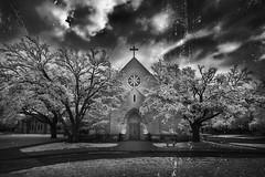 church (greg westfall.) Tags: gregwestfall infrared 720nm bw blackandwhite church episcopal fortworthtexas allsaintsepiscopalchurch
