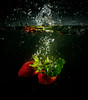 Fruit plunge (ClassicAngles) Tags: 2018 classicangles nikon bowl flash splash waves submerge macro waterdrop trigger flah plunge strawberry gcc fruit greystonescameraclub drop
