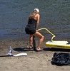 Pumped Up (swong95765) Tags: woman beach lady pumping pump water sand oar paddle
