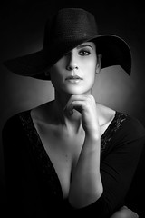 Daniela (luca.onnis) Tags: lucaonnis photography portrait portraiture blackandwhite hat bighat lookingcamera blackdress