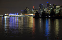Vancouver At Christmas (Clayton Perry Photoworks) Tags: vancouver bc canada night lights christmas explorebc explorecanada city skyline reflections stanleypark coalharbour