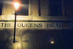 The Queen's Head (goodfella2459) Tags: nikon f4 af nikkor 50mm f14d lens cinestill 800t 35mm c41 film queens head pub sign night whitechapel east end spitalfields london elizabeth stride mary kelly jack ripper george hutchinson crime history city lights
