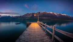 Glenorchy Wharf (adrianchandler.com) Tags: landscape calm dawn dock exterior glenorchy jetty lake lamp light morning mountains newzealand nz outdoor pano panorama pier southisland still water wharf wood wooden