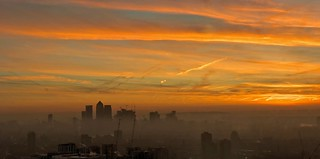 Rising above the fog! London sunrise.