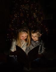 The Magic of Books (MrLoveland) Tags: christmas holiday children child siblings brother sister flash magic wonder cute girl boy portrait tree lights light