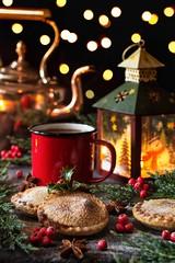 Christmas Treats (memoryweaver) Tags: memoryweaver stilllife enamel mug tea pies festive christmas candlelight lantern mincepies baking mincemeat