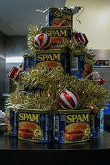 Nine- Nine Cans of Spam (prima seadiva) Tags: holidays spam restaurant marination can xmas tree kitsch montypython