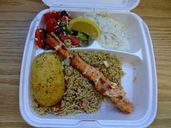 Salmon Souvlaki (knightbefore_99) Tags: food lunch tasty greek takeout takeaway rice arroz riz potatp fish salmon best lemon tomato salad onion awesome souvlaki paros taverna
