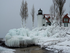 Michigan Winter! (JamesEyeViewPhotography) Tags: lake michigan pointbetsie lighthouse water waves snow ice winter sky clouds trees lakemichigan northernmichigan landscape nature frozen cold jameseyeviewphotography