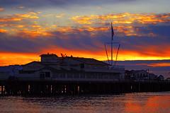 Harbor Restaurant (Damian Gadal) Tags: stearnswharf santabarbara california december 2004 clouds sunrise silhouette storm weather