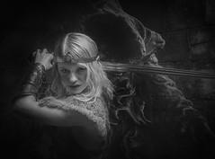 Sword Wraith (Neil A Kingsbury) Tags: portrait girl bw blackandwhite monochrome fantasy wraith sword longsword hood sinister menace armour elf crown