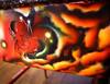 The Devils' Pride (Side 3 detail) (theartistbeforeyou) Tags: art chair devil airbrush wood stain desk school fantasy spray spraypaint mixedmedia hinsdalecentral paint burn woodwork refuz visualartist artist red yellow orange warmcolors newspaper achairaffair resin space satanic seat creative charity donate help