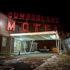 Cumberland Motel (Daniel Regner) Tags: motel kodak ektar mamiya c330 tlr twin lens reflex film analog analogue vintage camera motels americana cumberland 6x6 night photography long exposure square format prime 55mm old neon sign maryland md cable release epson v500 scanner
