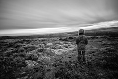 Dartmoor sunrise and I (NikNak Allen) Tags: devon dartmoor moorland moors view look landscape grass grasses light shadow black white grey blackandwhite longexposure sky clouds early morning