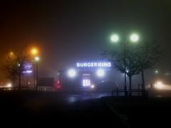 Manchester fog (stillunusual) Tags: manchester fog mcr city england uk fallowfieldshoppingcentre streetphotography street cityscape urban urbanscenery urbanlandscape evening night dark burgerking 2017