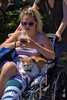 Riding In Style (swong95765) Tags: woman female lady blonde cat pussy wheelchair ride shades cute pretty animal