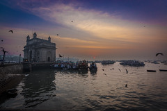 Morning Bliss (views@vista) Tags: architecture building clouds colors dawn gatewayofindia hdr india monuments mumbai old outdoor sky sunrise