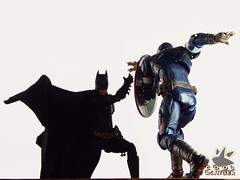 Bats v Caps (Cool Ranger by Gui Marques) Tags: geek nerd photography toyphotography toys dc marvel evans chris bale christian america captain batman ranger cool