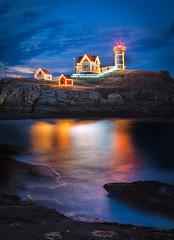 Nubble Christmas (bostondave34) Tags: christmas coast lighthouse lights maine newengland nubble nubblelight seashore