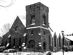 St. James Episcopal Church. (PJD-DigiPic) Tags: church st james episcopal churchglastonbury connecticut brown stone norman tower romanesque winter snow pjddigipic panasonic dmcg5 lumix camera