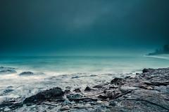 Dark & Stormy: (AutisticReaction) Tags: 12mm aqua australia beach blue coast cyan dark drama fog green k3 leefilter longexposure morning ndgrad ocean orca pentax pentax1224mm rocks southcoast stormy summer surf water whale killer whales