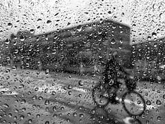 Rain outside (Birdhouse camper) Tags: copenhagen denmark droplets window shotoniphone6s iphone iphone6s blackandwhite blackwhite street bicycle
