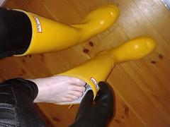 Exciting moment. (essex_mud_explorer) Tags: yellow rubber hunter wellington boots rubberboots wellingtonboots hunterboots hunterwellies hunterrainboots rainboots rubberlaarzen gummistiefel gumboots gates vintage madeinscotland gloves gauntlets marigoldemperor me107 feet barefoot barefeet
