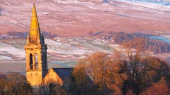 winter sunset on the Campsie Hills 06 (byronv2) Tags: sunlight winter snow weather scotland hills campsiehills kirkintilloch glasgow geology nature church kirk architecture building spire tower steeple saintdavids landscape