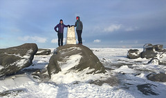 52 of 52 trig points (Ron Layters) Tags: 2017 ronlayters selfportrait 52trigpoints kinderlow trigpoint ronet boulder snow winter cold frozen moorland moor kinderscout plateau white kinderplateau gritstone pillar tp4216 fbs4113 afternoonsun peakdistrict peakdistrictnationalpark edale derbyshire england unitedkingdom 52weeks 52 phonecamera iphone apple appleiphone6 selftimer tripod 10secondtimer weekfiftytwo week52 10k 20k 25k highestpositioninexplore45onmondayjanuary12018 explore interesting explored