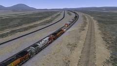 Eastbound Autoracks Meeting a Westbound Intermodal (youngwarrior) Tags: train simulator cajonpass bnsf ts2017