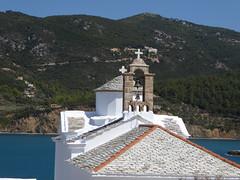 A church on the Island of Skopelos (lesleydugmore) Tags: church bells roof white sea water moountain greece greekisland sporades