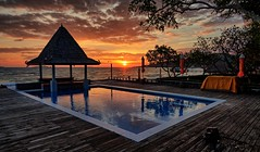 Mooban Talay Resort, Koh Samet (Vest der ute) Tags: g7xm2 g7xll sea seascape sunrise thailand pool poolbar reflections sky clouds earlymorning trees fav200 o raw