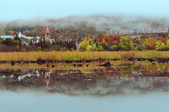 Autumn Morning at Mont-Tremblant (lfeng1014) Tags: autumnmorningatmonttremblant monttremblant quebec canada autumncolours autumnmorning lowercloud misty mistymorning landscape canon5dmarkiii ef1635mmf28liiusm water reflection travel lifeng mountain monttremblantvillage