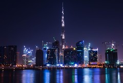 Burj khalifa (Marwanhaddad) Tags: travel building cityscape nightscape dubai river reflections lights nightphotography night city