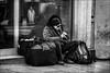 Un homme, sa flûte et ses sacs ikea../ A man, his flute and his ikea bags... (vedebe) Tags: humain human people homme rue street social société ville city urbain urban musique noiretblanc netb nb bw monochrome