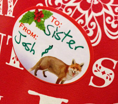 352 - Farty Fox (jbpro) Tags: 365 days photo challenge december christmas fox present wrapping paper sticker
