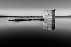 Emerged (Javiralv) Tags: castle tower blackandwhite dry dam water stone castillo torre balncoynegro sequía embalse agua piedra cáceres españa spain extremadura