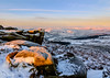 Early Morning Light (quiltershaun) Tags: sunrise overowler moor owler over peakdistrict national park dark peak rocks edge tor valley hathersage winter december snow landscape morning early light pink blue geology nikon 1685 derbyshire yorkshire eastmidlands