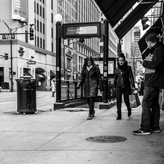 Bee line from the Red Line (dharder9475) Tags: 2017 bw blackandwhite chicagotransitauthority cta grandavenue privpublic redline rivernorth sidewalk statestreet streetphotography walking women