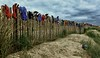 Wish Me Luck As You Wave Me Goodbye (tcees) Tags: greatstonebeach newromney kent nikon d5200 1855mm beach sand fence gloves sanddunes rubbergloves sky clouds grass