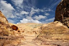 Unknown places in Petra - Jordan. (hanna_astephan) Tags: jordan jordania jordanien petra petraarea wadimusa desert landscape rocksformation cloudysky landscapes