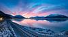 Sunrise (Traylor Photography) Tags: alaska wideangle camper landscape winter reflection mountains rv panorama lightsource clouds lighttrails indian sunrise december sewardhighway anchorage iceflow railroad unitedstates us