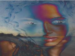 BEACHDREAM (hans 1960) Tags: face gesicht eye auge mund lippen hand compo träume dreams wasser water farben colours haare hair beach strand landschaft landscape