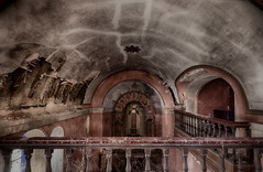 """Petit supplément d'âme..."" (ElfeMarie) Tags: chapelle chapel church église voutes arches architecture pink plafond balcon balcony abandonné abandoned abandonnée creepy colors couleurs capela decay derelict decayed décrepit darkness dust past poussiere exploration explorationurbaine inside interieur marilynek canon 70d forgotten oublié oubliée old obscurité lost light lumière lueur luminescence peaceful holy urbex europe"