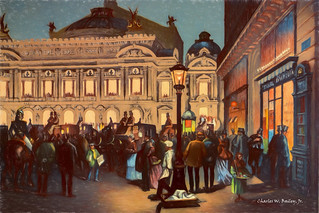 Digital Colored Pencil Drawing of the Palais Garnier at Night by Charles W. Bailey, Jr.