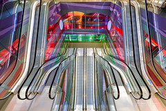 Psychedelic Escalator II (Alec Lux) Tags: rotterdam architecture blue colorful colors design escalator green interior lights market markthal netherlands psychedelic purple red stairs stairway symmetry urban yellow zuidholland nl