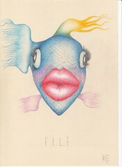 F.I.L.F. (Klaas van den Burg) Tags: fish milf filf pencil color humor sarcasm absurd lips blond