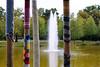 Häkelarbeiten (ingrid eulenfan) Tags: leipzig park tich spingbrunnen fountain stab stock häkelkunst wärmespender strickhäkelarbeiten clarazetkinpark
